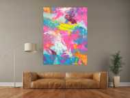 Abstraktes Gemälde Action Paintng Modern Art Neon Farben Fluoreszierende Farbe