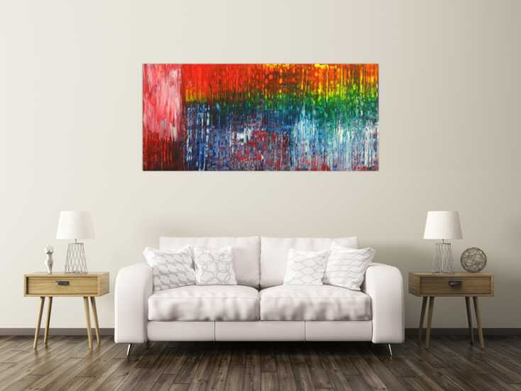 #1716 Abstraktes Gemälde Spachteltechnik Modern Art auf Leinwand ... 80x180cm von Alex Zerr