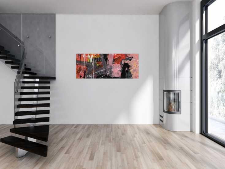 #1717 Abstraktes Gemälde Modern Art rosa grau schwarz zeitgenössisch 60x150cm von Alex Zerr