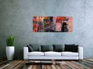 Abstraktes Gemälde Modern Art rosa grau schwarz zeitgenössisch