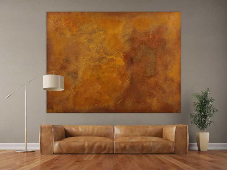 #1718 Abstraktes Gemälde aus echtem Rost auf Leinwand handgemalt Modern ... 150x200cm von Alex Zerr