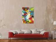 Abstraktes Gemälde Action Painting Spachtentechnik Modern Art sehr bunt