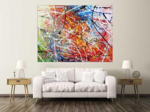 Abstraktes Acrylbild Gemälde bunt modern sehr groß
