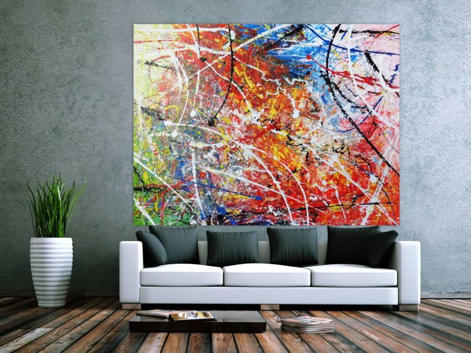 abstraktes acrylbild gem lde bunt modern sehr gro handgemalt auf leinwand in 150x200cm von alex. Black Bedroom Furniture Sets. Home Design Ideas