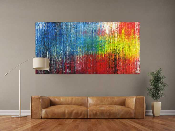 #1721 Abstraktes Gemälde Modern Art handgemalt Spachteltechnik sehr bunt 100x200cm von Alex Zerr