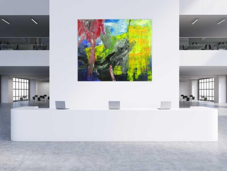 #1722 Abstraktes Gemälde Modern Art handgemalt sehr groß auf Leinwand 180x215cm von Alex Zerr