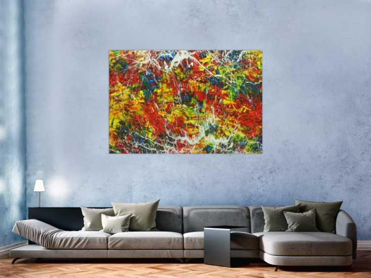 #1723 Abstraktes Gemälde Handgemalt Modern Art Action Painting auf ... 100x150cm von Alex Zerr