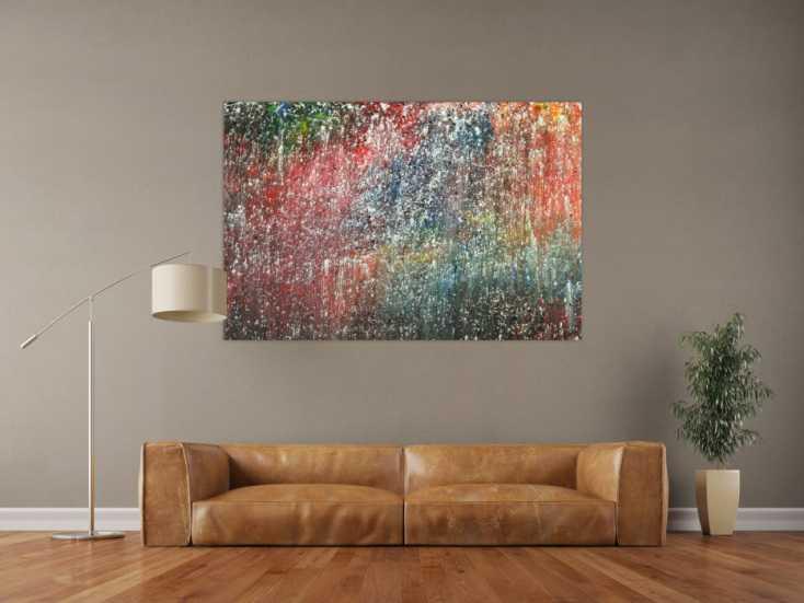 #1725 Abstraktes Gemälde auf Leinwand handgemaltes Acrylbild Action Paiting 100x150cm von Alex Zerr