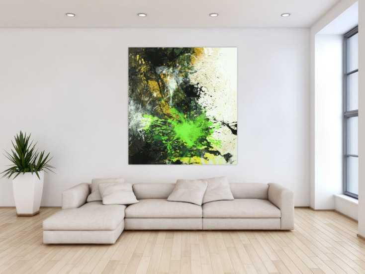 #1726 Abstraktes Gemälde Action Painting schwarz gold neon grün weiß ... 140x130cm von Alex Zerr