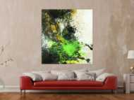 Abstraktes Gemälde Neon Farben Action Painting schwarz gold neon grün weiß Modern Art