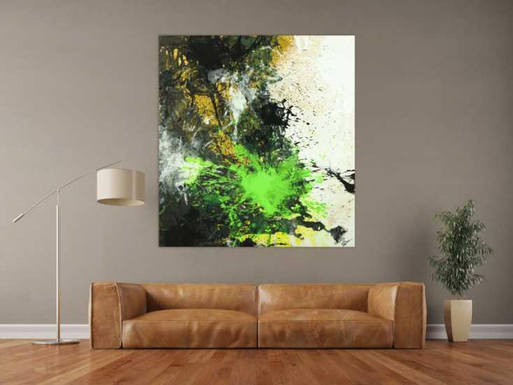 #1726 Abstraktes Gemälde Neon Farben Action Painting schwarz gold neon ... 140x130cm von Alex Zerr