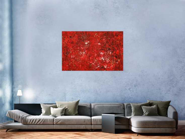 #1727 Abstraktes Gemälde Modern Art rot gold handgemalt auf Leinwand ... 80x120cm von Alex Zerr