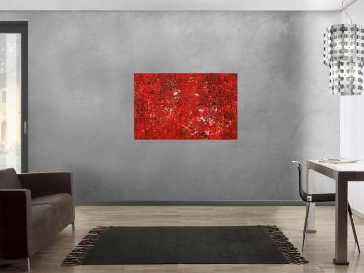 #1727 Abstraktes Gemälde Modern Art rot gold handgemalt auf Leinwand 80x120cm von Alex Zerr