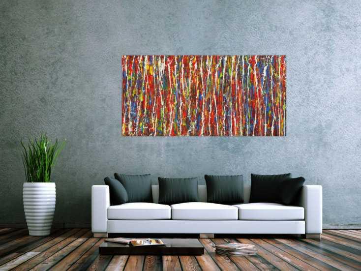 #1728 Abstraktes Gemälde Modern Art handgemalt Action Paintng sehr bunt ... 80x160cm von Alex Zerr