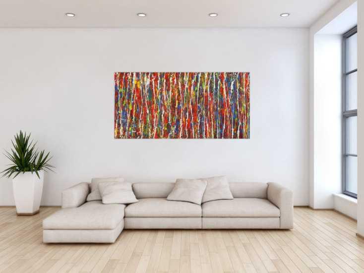 #1728 Abstraktes Gemälde Modern Art handgemalt Action Painting sehr bunt ... 80x160cm von Alex Zerr