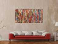 Abstraktes Gemälde Modern Art handgemalt Action Painting sehr bunt zeitgenössisch
