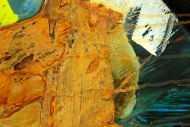 Detailaufnahme Gemälde Original abstrakt 200x90cm Aus echtem Rost expressionistisch handgefertigt Mischtechnik orange anthrazit schwarz hochwertig