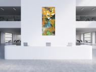 Gemälde Original abstrakt 200x90cm Aus echtem Rost expressionistisch handgefertigt Mischtechnik orange anthrazit schwarz hochwertig