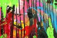 Detailaufnahme Abstraktes Original Gemälde 110x150cm Action Painting zeitgenössisch handgemalt Mischtechnik schwarz rot braun Einzelstück