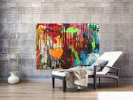 Abstraktes Original Gemälde 110x150cm Action Painting zeitgenössisch handgemalt Mischtechnik schwarz rot braun Einzelstück