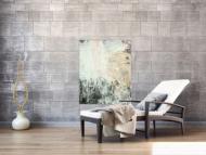 Gemälde Original abstrakt 100x80cm Action Painting Moderne Kunst handgemalt Mischtechnik weiß beige grau Unikat