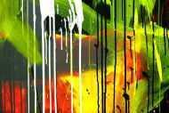 Detailaufnahme Gemälde Original abstrakt 100x200cm Action Painting expressionistisch auf Leinwand Mischtechnik schwarz weiß gelb hochwertig