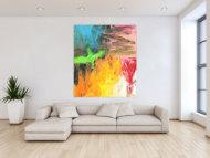 Original Gemälde abstrakt 150x130cm Mischtechnik Modern Art handgefertigt  gelb orange anthrazit Unikat