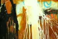 Detailaufnahme Abstraktes Original Gemälde 110x150cm Aus echtem Rost Moderne Kunst handgemalt Mischtechnik braun orange schwarz hochwertig