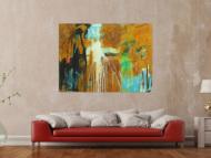Abstraktes Original Gemälde 110x150cm Aus echtem Rost Moderne Kunst handgemalt Mischtechnik braun orange schwarz hochwertig