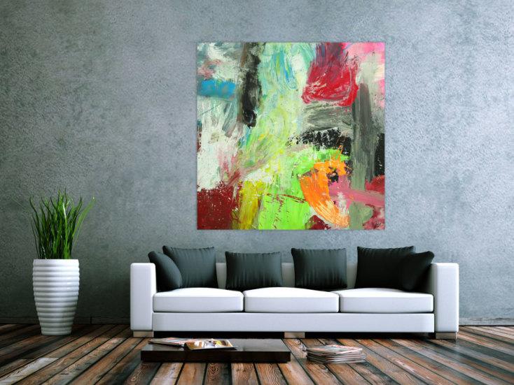 #1737 Gemälde Original abstrakt 130x130cm Action Painting Moderne Kunst ... 130x130cm von Alex Zerr
