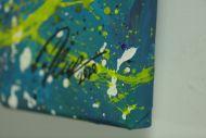 Detailaufnahme Original Gemälde abstrakt 80x200cm Action Painting Moderne Kunst handgefertigt Mischtechnik blau rot weiss einzigartig