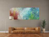 Original Gemälde abstrakt 80x200cm Action Painting Moderne Kunst handgefertigt Mischtechnik blau rot weiss einzigartig