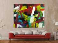 Gemälde Original abstrakt 140x180cm Spachteltechnik Moderne Kunst handgefertigt Mischtechnik bunt einzigartig