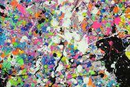Detailaufnahme Abstraktes Original Gemälde 100x100cm Action Painting zeitgenössisch handgemalt Mischtechnik weis bunt etwas neon Unikat