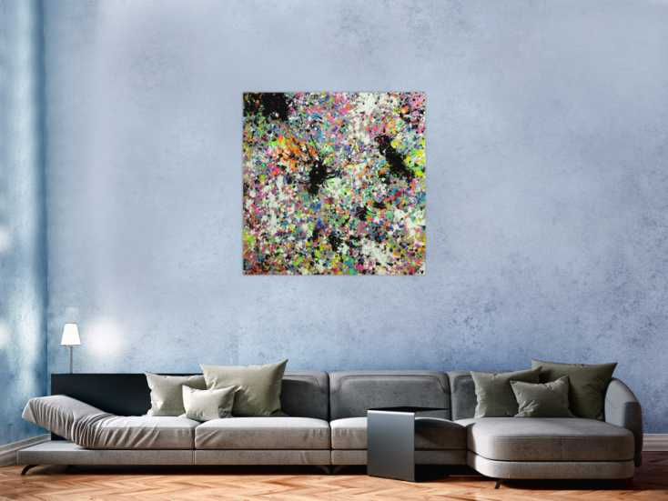 #1741 Abstraktes Original Gemälde 100x100cm Action Painting ... 100x100cm von Alex Zerr