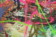 Detailaufnahme Gemälde Original abstrakt 90x190cm Action Painting Moderne Kunst auf Leinwand Mischtechnik hellgrün orange gelb hochwertig