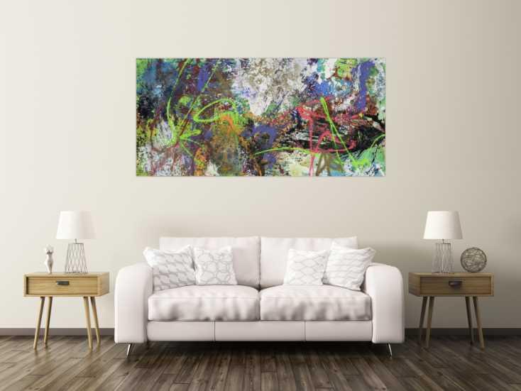 #1742 Gemälde Original abstrakt 90x190cm Action Painting Moderne Kunst auf ... 90x190cm von Alex Zerr