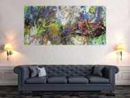 Gemälde Original abstrakt 90x190cm Action Painting Moderne Kunst auf Leinwand Mischtechnik hellgrün orange gelb hochwertig