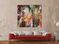 Abstraktes Original Gemälde 130x140cm Action Painting zeitgenössisch auf Leinwand Mischtechnik braun schwarz beige Einzelstück