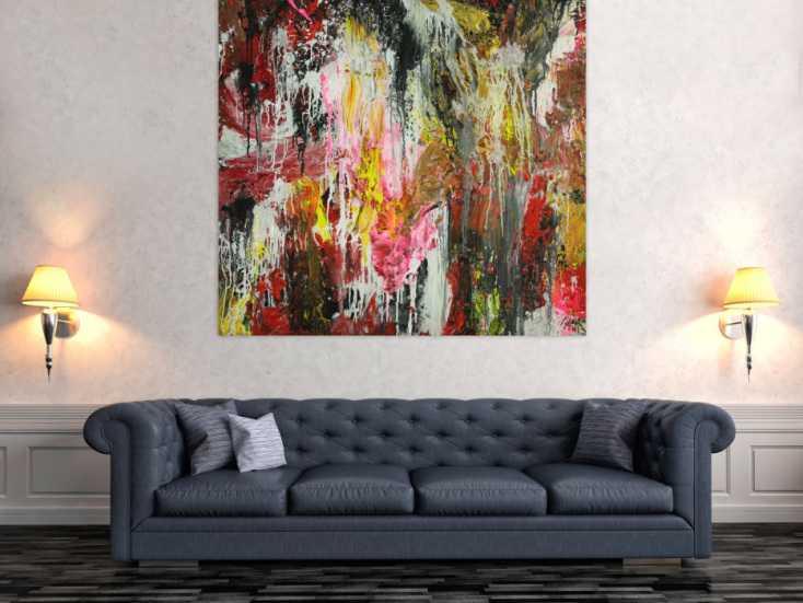 #1743 Abstraktes Original Gemälde 130x140cm Action Painting ... 130x140cm von Alex Zerr