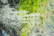 Detailaufnahme Abstraktes Original Gemälde 130x130cm Action Painting Modern Art handgefertigt Mischtechnik schwarz beige anthrazit Einzelstück