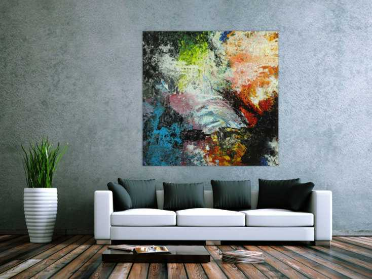 #1744 Abstraktes Original Gemälde 130x130cm Action Painting Modern Art ... 130x130cm von Alex Zerr
