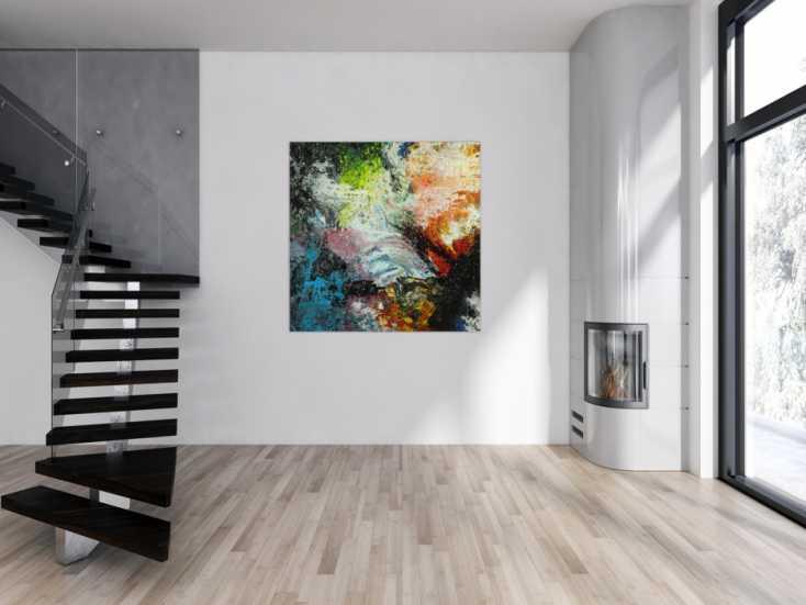 #1744 Abstraktes Original Gemälde 130x130cm Action Painting Modern Art ... 130x130cm von Alex Zerr