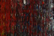Detailaufnahme Abstraktes Original Gemälde 56x140cm Spachteltechnik Moderne Kunst handgemalt grün gelb rot blau bunt hochwertig