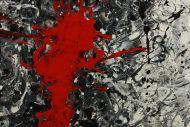Detailaufnahme Gemälde Original abstrakt 100x200cm Action Painting zeitgenössisch handgemalt Splash Art weiß schwarz grau Unikat