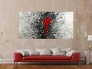Gemälde Original abstrakt 100x200cm Action Painting zeitgenössisch handgemalt Splash Art weiß schwarz grau Unikat