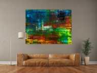 Abstraktes Original Gemälde 120x160cm Spachteltechnik Moderne Kunst handgemalt sehr bunt  einzigartig