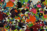 Detailaufnahme Gemälde Original abstrakt 100x200cm Minimalistisch Modern Art handgemalt Action Painting sehr bunt hochwertig