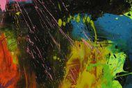Detailaufnahme Gemälde Original abstrakt 150x200cm Action Painting Neon Farben sehr bunt Modern Art handgefertigt Splash Art Einzelstück
