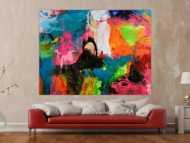 Gemälde Original abstrakt 150x200cm Action Painting Neon Farben sehr bunt Modern Art handgefertigt Splash Art Einzelstück
